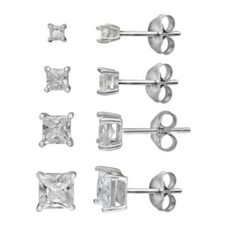 PRIMROSE Princess Cut Cubic Zirconia 4-Pair Stud Earring Set