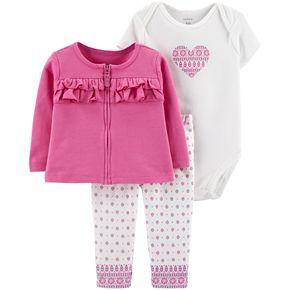 Baby Girl Carter's Ruffled Cardigan, Heart Bodysuit & Tile Leggings Set