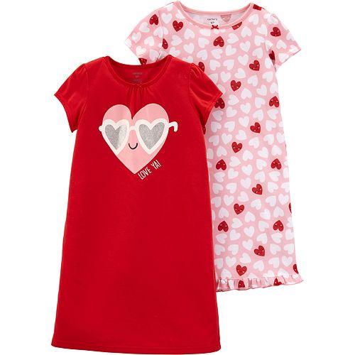 Girls 4-14 Carter's 2-pack Heart Dorm Nightgowns