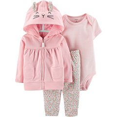 Baby Girl Carter's Bunny Hoodie, Striped Bodysuit & Floral Leggings Set