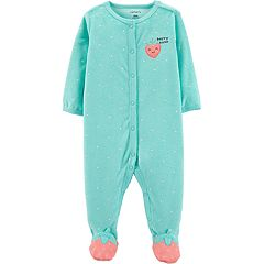 Baby Girl Carter's Terry Strawberry Dotted Sleep & Play