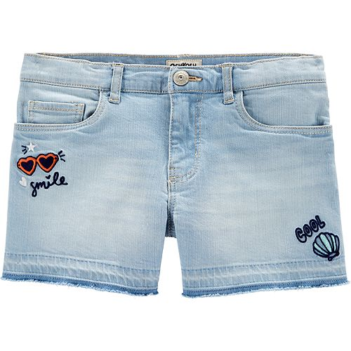 Girls 4-14 OshKosh B'gosh® Embroidered Frayed-Hem Denim Shorts