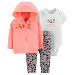 Baby Girl Carter's Ruffled Hoodie, 'Wild About Mommy' Bodysuit & Cheetah Leggings Set