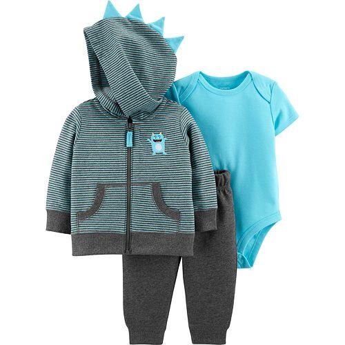 Baby Boy Carter's Monster Striped Zip Hoodie, Bodysuit & Pants Set