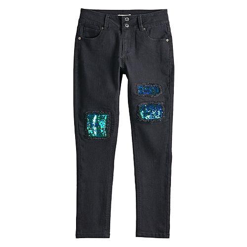 Girls 7-16 Mudd® Sequin Midrise Skinny Jeans