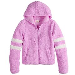 Girls 7-16 & Plus Size SO® Varsity Sherpa Hooded Jacket