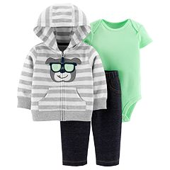 Baby Boy Carter's Striped Dog Hoodie, Bodysuit & Pants Set