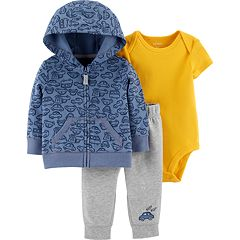 Baby Boy Carter's Cars Zip Hoodie, Bodysuit & Pants Set