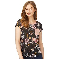 Juniors' Wallflower Scoopneck Ringer Tee