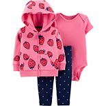 Baby girl Carter's Strawberry Hoodie, Bodysuit & Polka-Dot Leggings Set