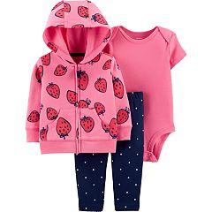 Baby girl Carter's Strawberry Hoodie, Bodysuit & Polka-Dot Leggings Set