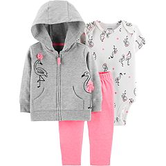 Baby Girl Carter's Flamingo Bodysuit, Hoodie & Leggings Set