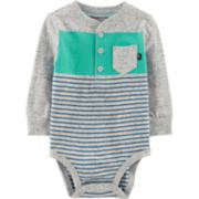 Baby Boy OshKosh B'gosh® Striped Pocket Henley Bodysuit