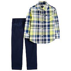 Toddler Boy Carter's Plaid Shirt & Chino Pants Set