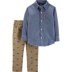 Toddler Boy Carter's Chambray Button Down Shirt & All Over Dinosaur Khaki Pants