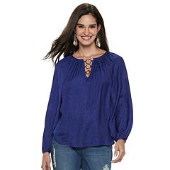 Women's Jennifer Lopez O-Ring Satin Peasant Top