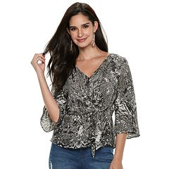 Women's Jennifer Lopez  Knot-Front Crepe Top
