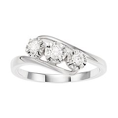 d51f58938 I Promise You Sterling Silver 1/4 Carat T.W. 3-Stone Ring