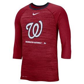 Nike Men's Washington Nationals 3/4 Sleeve Raglan Logo Tee