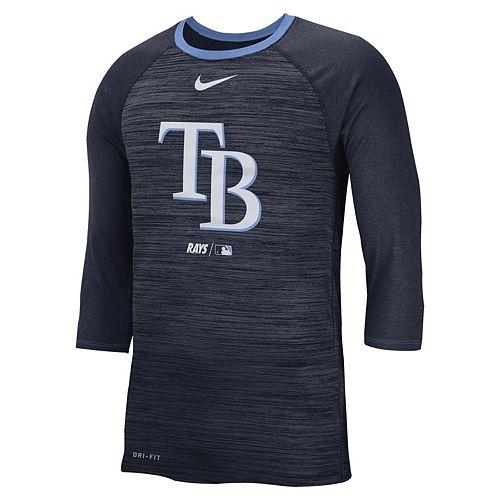 Nike Men's Tampa Bay Rays 3/4 Sleeve Raglan Logo Tee