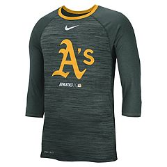 Nike Men's Oakland Athletics 3/4 Sleeve Raglan Logo Tee