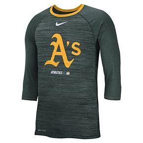 Nike Men's Oakland Athletics 3/4 Sleeve Raglan Logo Tee