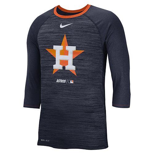 Nike Men's Houston Astros 3/4 Sleeve Raglan Logo Tee