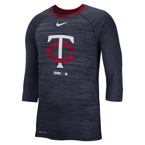 Nike Men's Minnesota Twins 3/4 Sleeve Raglan Logo Tee