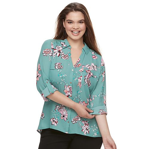 4a90098763f Juniors  Plus Size Candie s® Printed Lace Blouse