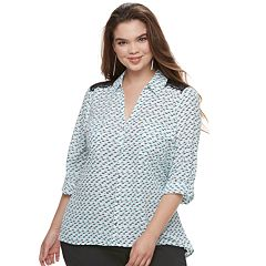 Juniors' Plus Size Candie's® Printed Lace Blouse