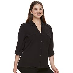 Juniors' Plus Size Candie's® Solid Lace Crepe Blouse