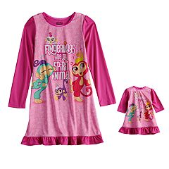Girls 4-10 Fingerlings Dorm Nightgown & Doll Gown