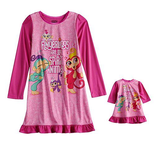 Girls 4-10 Fingerlings Dorm Nightgown & Doll Gown