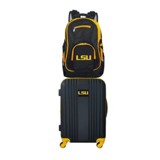 LSU Tigers Wheeled Carry-On Luggage & Backpack Set