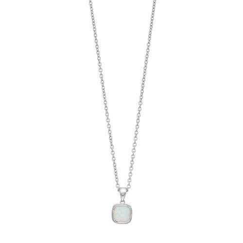 Sterling Silver Lab-Created White Opal Cabochon Pendant Necklace