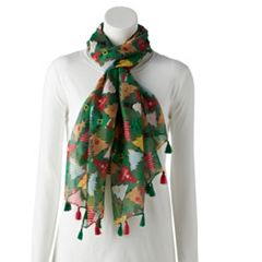 Women's Tasseled Christmas Tree Print Oblong Scarf