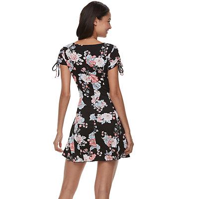 Juniors' Love, Fire Floral Swing Dress