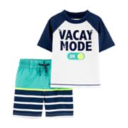"Toddler Boy Carter's ""Vacay Mode"" Raglan Rash Guard & Swim Shorts Set"