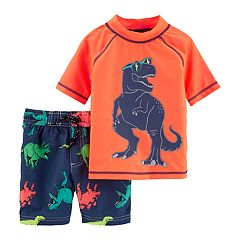 Toddler Boy Carter's Dinosaur Rash Guard Top & Swim Shorts Set