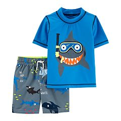 ced59a3b93d38 Baby Boy Carter's Snorkeling Shark Rash Guard & Swim Shorts Set. sale