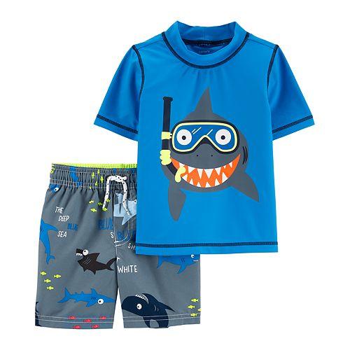 ac51029141 Baby Boy Carter's Snorkeling Shark Rash Guard & Swim Shorts Set