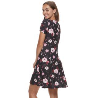 Juniors' Candie's® Ruched & Pleated Skater Dress