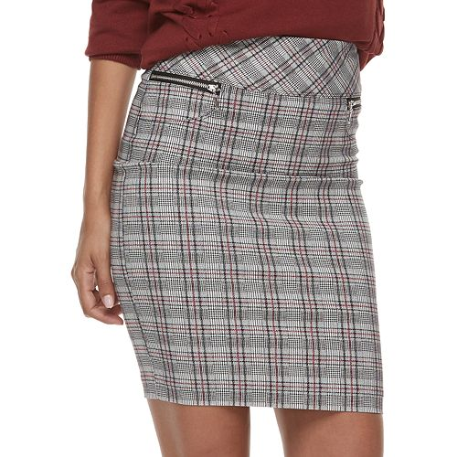 Juniors' Joe B Plaid Millennium Pencil Skirt