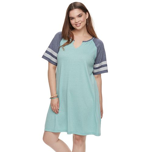 Juniors\' Plus Size SO® Varsity Striped Dress