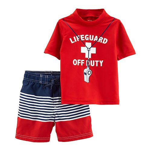 "Baby Boy Carter's ""Lifeguard Off Duty"" Rashguard Top & Shorts Swimsuit Set"