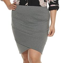 Juniors' Plus Size Joe B Crisscross Solid Ribbed Skirt