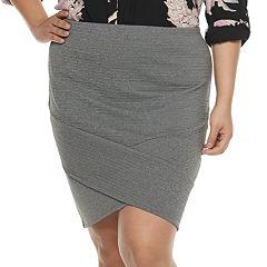 Juniors' Plus Size Joe B Crisscross Solid Ribbed Skirt