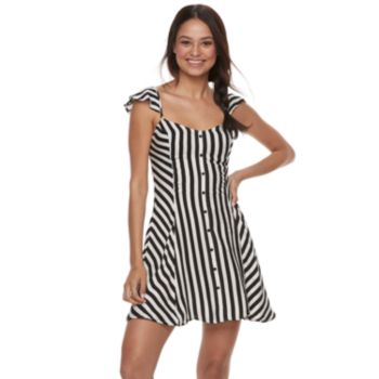 Juniors' Love, Fire Striped Button Front Swing Dress