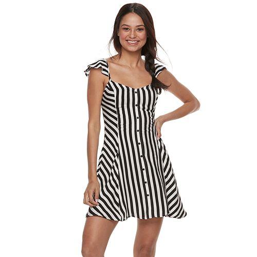 Juniors' Love, Fire Striped Button Front Swing Dress