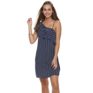 Juniors' Love, Fire Striped One-Shoulder Swing Dress
